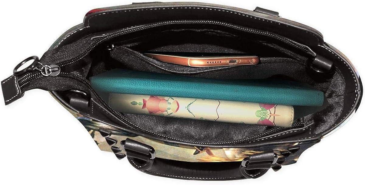 Carolina Panther dibujo mujeres moda cuero genuino remache bolso de hombro de las niñas viaje escuela bolso de mano Napoleón Cruzando Los Alpes 82kHWI6g