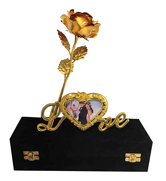 Lavanaya Silver Gold Rose Flower 24K gold With Loving Box And Golden Love Stand Home & Décor at amazon