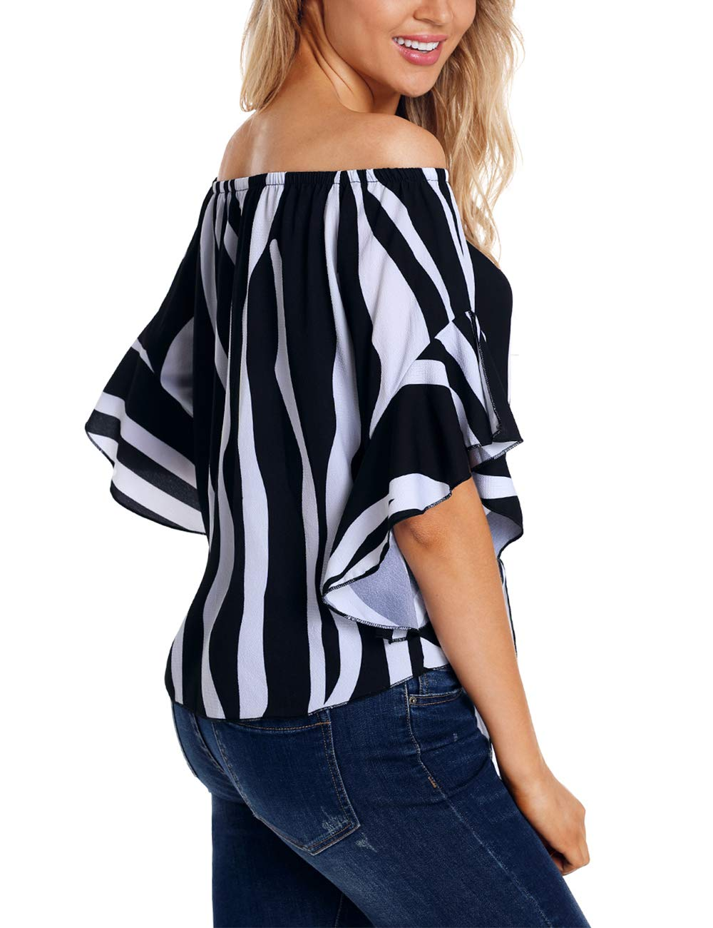 RSM &CHENG Women's Striped Off Shoulder Bell Sleeve Shirt Tie Knot Casual Blouses Tops(Stripe Black,L)