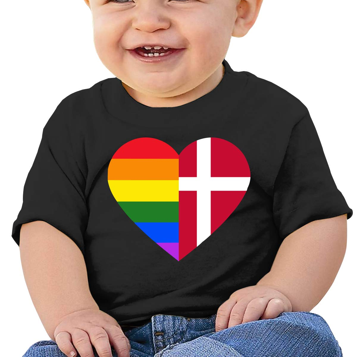 ZUGFGF-S3 Denmark Flag Toddler Baby Newborn Short Sleeve T Shirts 6-24 Month Cotton Tops