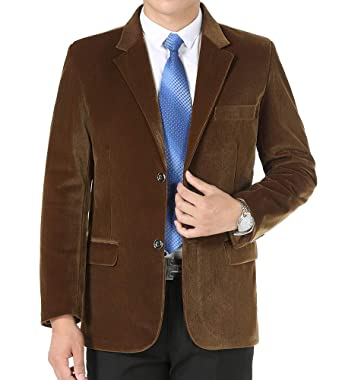 BiSHE Mens Cord Blazer Ellenbogen Patches Anzüge Mantel Smart formales  Abendessen passt Jacke Herren 5dd9b2e78a