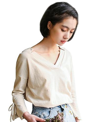 Azbro Mujer Blusa Pullover de Color Sólido Mangas de Bate Cuello V