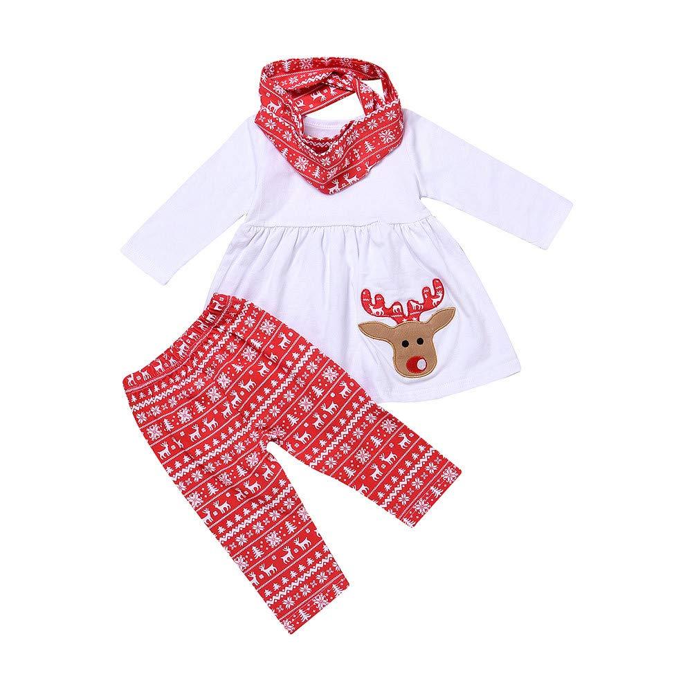 Iuhan 1-5Y Baby Girls Christmas Clothing Set Deer Dresses Pants Scarf 3 Pieces Set