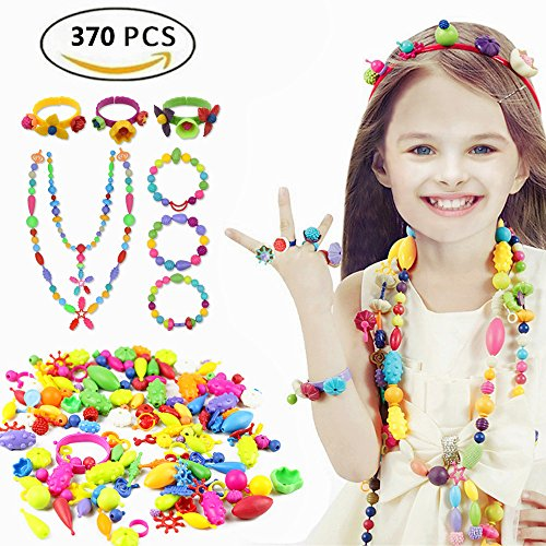 Old Plastic Beads (Etmact 370pcs Pop Bead Pearl Children DIY Toy Creative Building Blocks Kids Intelligence Education Toys Jewelry Making Kit for Headwear, Necklace, Earrings, Bracelets and Anklets for Kids Girls Gift T)