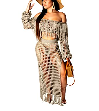 2135d173b140d5 Womens Sexy Two Piece Outfits - Strapless Tassels Tube Top + Split Sheer  Lace Club Maxi
