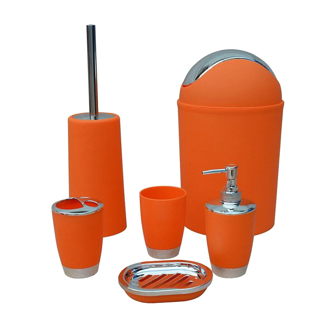 MonkeyJack 6PCS Solid Luxury Plastic Bathroom Accessories Set Bath Set Bath Storage 8 Colors - Orange, as described