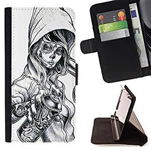 - Graffiti Tattoo Zombie Skull Girl Spray - - Prima caja de la PU billetera de cuero con ranuras para tarjetas, efectivo desmontable correa para l Funny HouseFOR Sony Xperia Z2 D6502