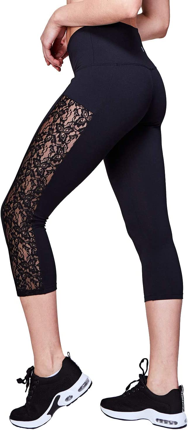 US Womens Ladies Lace Hollowed Out Stretchy Yoga Pants Crop High Waist Leggings