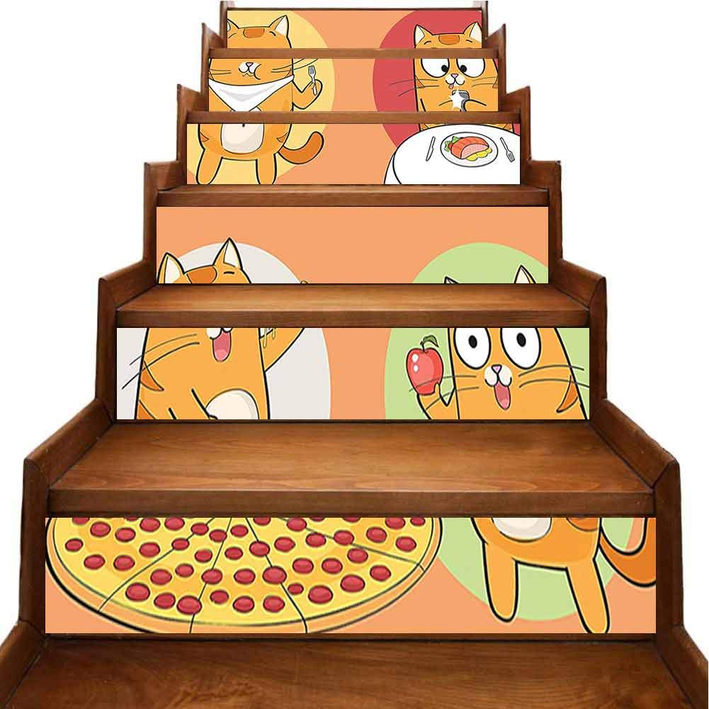 DIY Funny Art Wall Decal Cute Cat Cartoon Character Having Food Breakfast Knife Fork Pizza Apple Self-Adhesive Backsplash Stickers for Family Home Stairway Decor, W39.3 x H7 inch