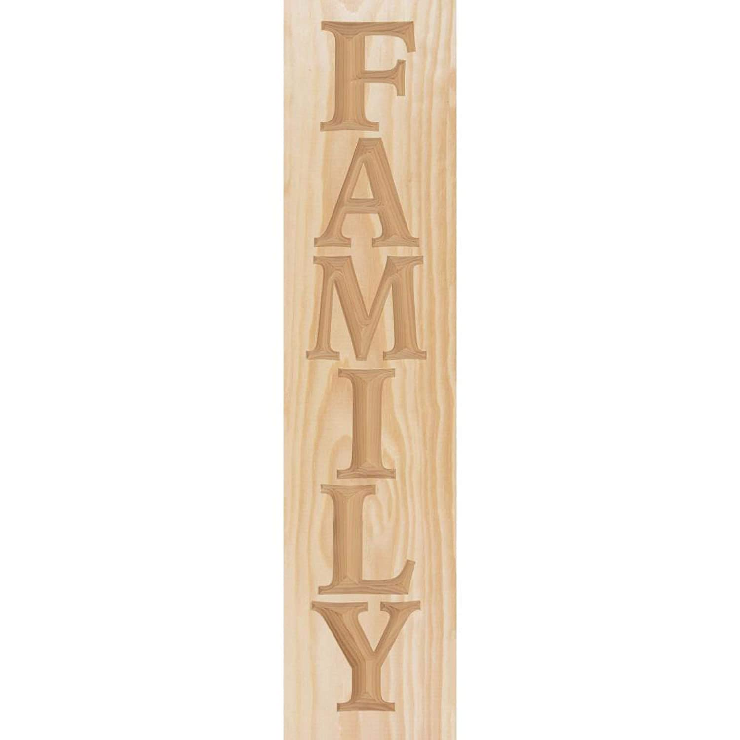 P Graham Dunn Family Carved Stick Natural Finish 24 x 6 Kiln Dried Pine Wood Craft Plaque
