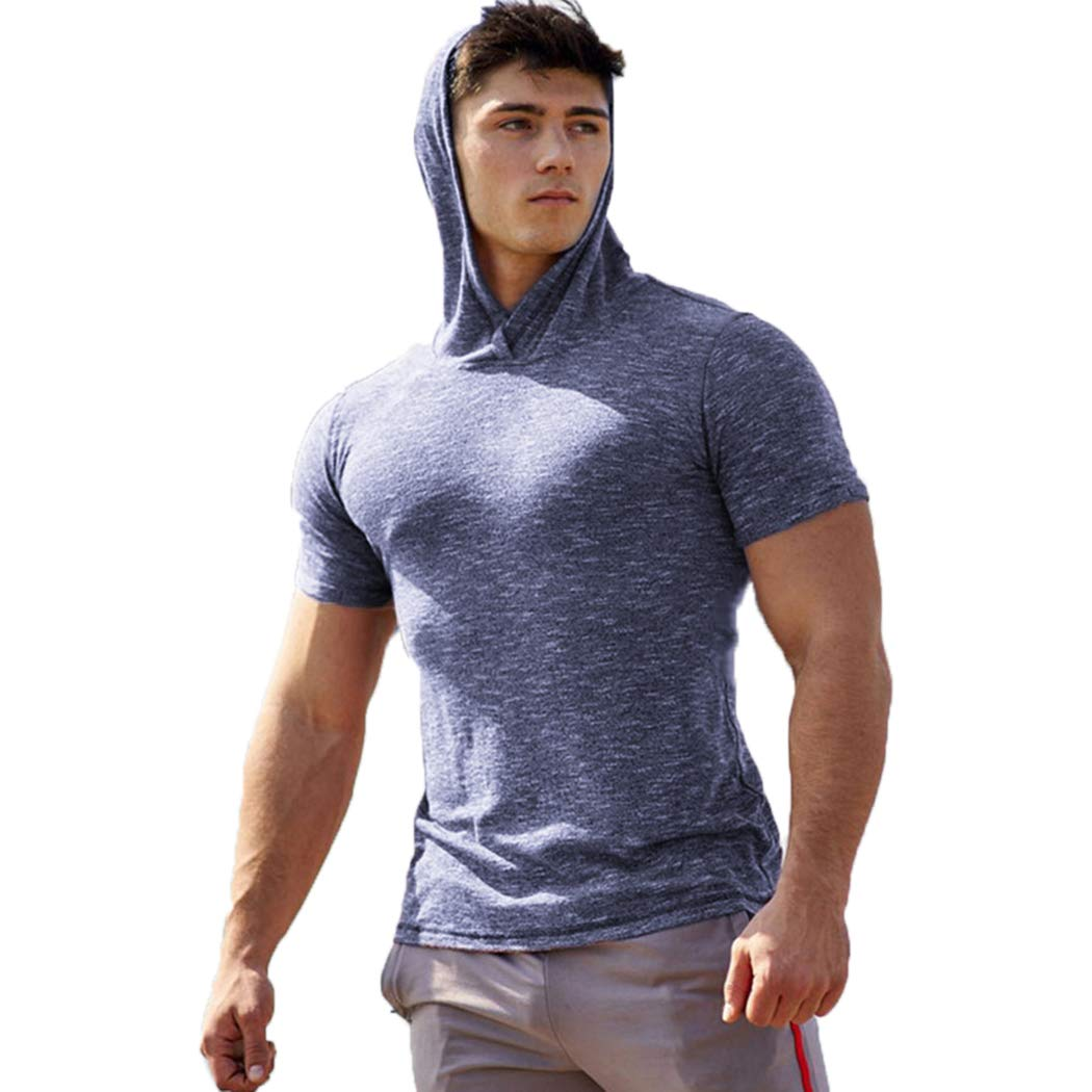 COOFANDY Men's Hoodies Gym Workout Short Sleeve T Shirt Bodybuilding Sportswear by COOFANDY