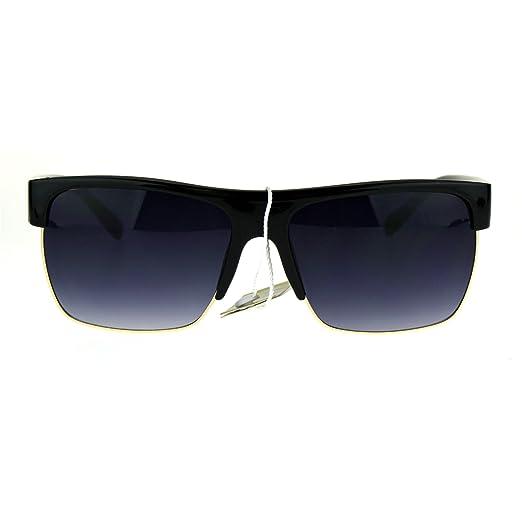 bffba11486 Mens Luxury Half Horn Rim Rectangular Designer Minimal Sunglasses Black  Smoke