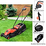 Alek...Shop Red Lawn Mower Grass Electric 12 Amp 13-Inch Hand Push Height Adjusting with Grass Catcher Bag Catcher Home Garden