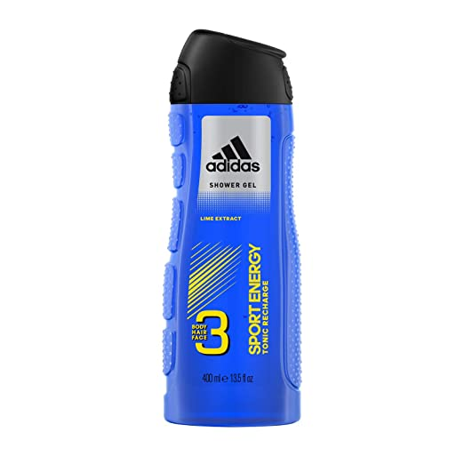 Adidas Male Personal Care 3-in-1 Body Wash Sport Energy 16 Fluid Ounce Body Wash, Face Wash, and Shampoo in One with Lime Extract
