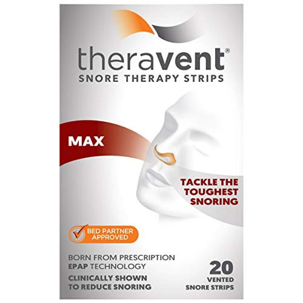 Theravent Snore Therapy Strips, Maximum Strength, Tackle the Toughest Snoring, Bed Partner Approved, 20 Count by Theravent