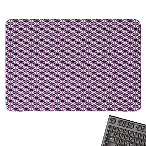 (Abstractlarge Mouse padInterlocking Stripes Wave Style Composition on Violet Toned BackgroundComfortable Mousepad 15.7