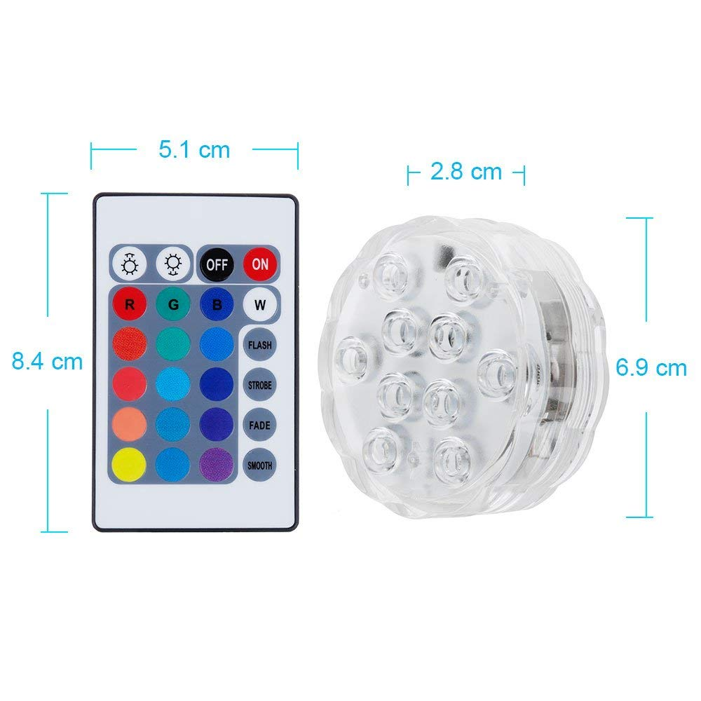 GallopHarsou 2 Underwater Light with Remote Control and 6 Batteries RGB Multi Color Changing Waterproof LED Lights for Vase Base Aquarium Pond Halloween Party Christmas