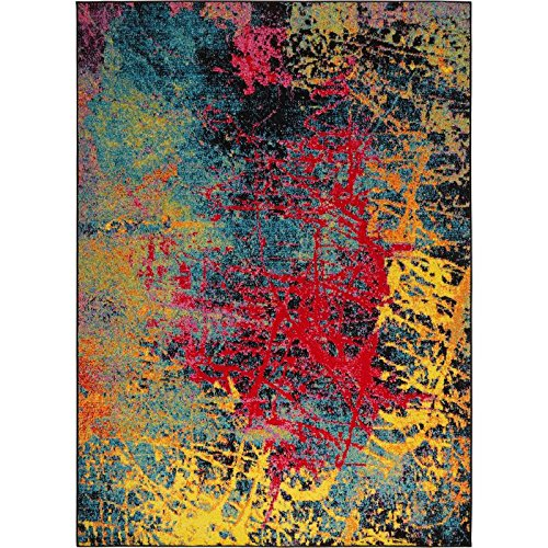 Home Dynamix Splash Tomie Area Rug | Contemporary Living Room Rug | Abstract Brushstrokes | Bold and Vibrant Palette | Black, Blue, Pink, Yellow 5'2'' x7'2