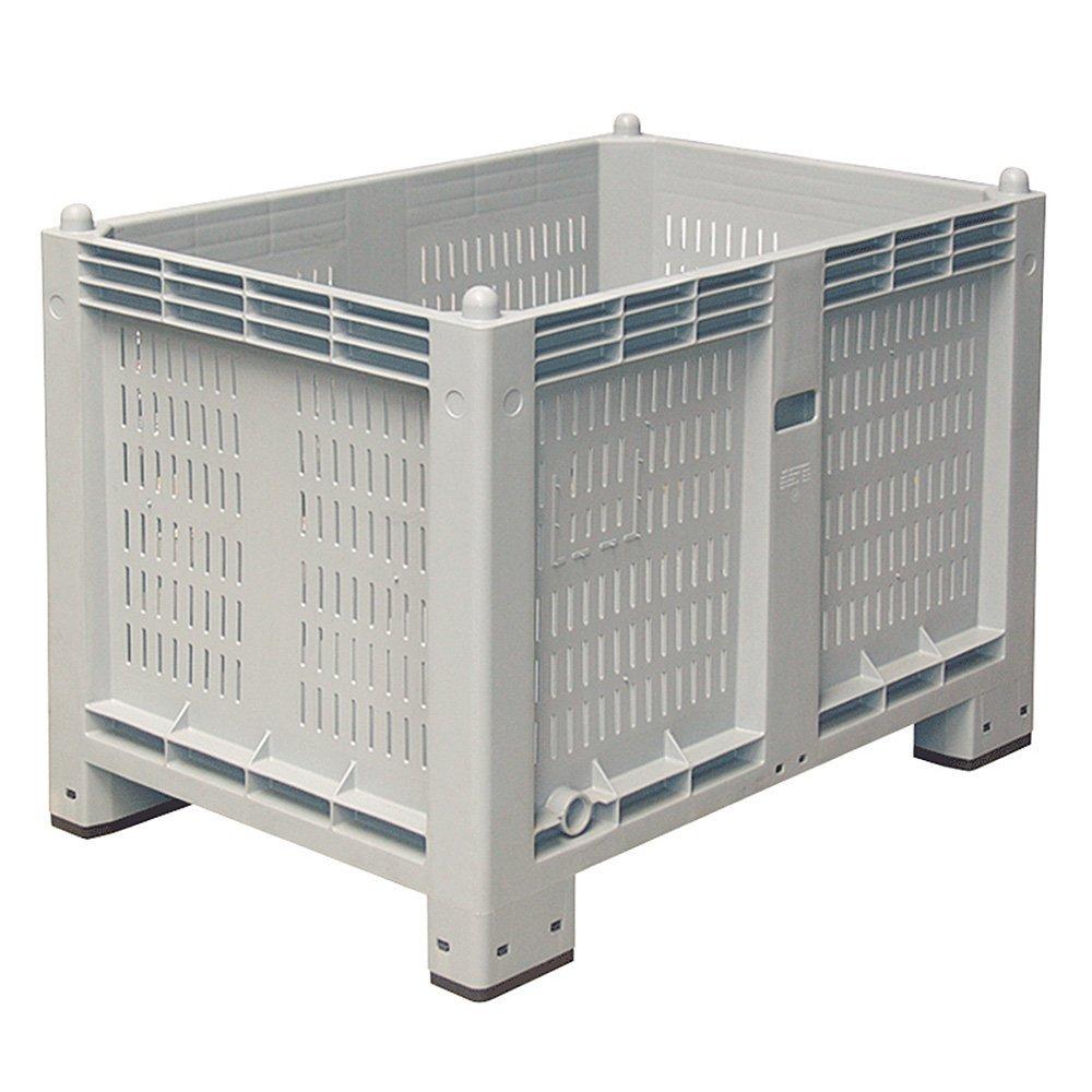 Palettenbox mit 4 Füßen, Wände geschlitzt, LxBxH 1200x800x850 mm