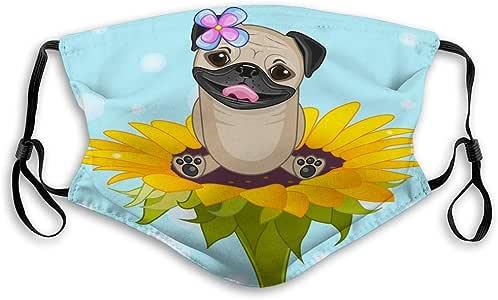 Amazon.com : langhu artoon Pug Dog Cute Cartoon Flower
