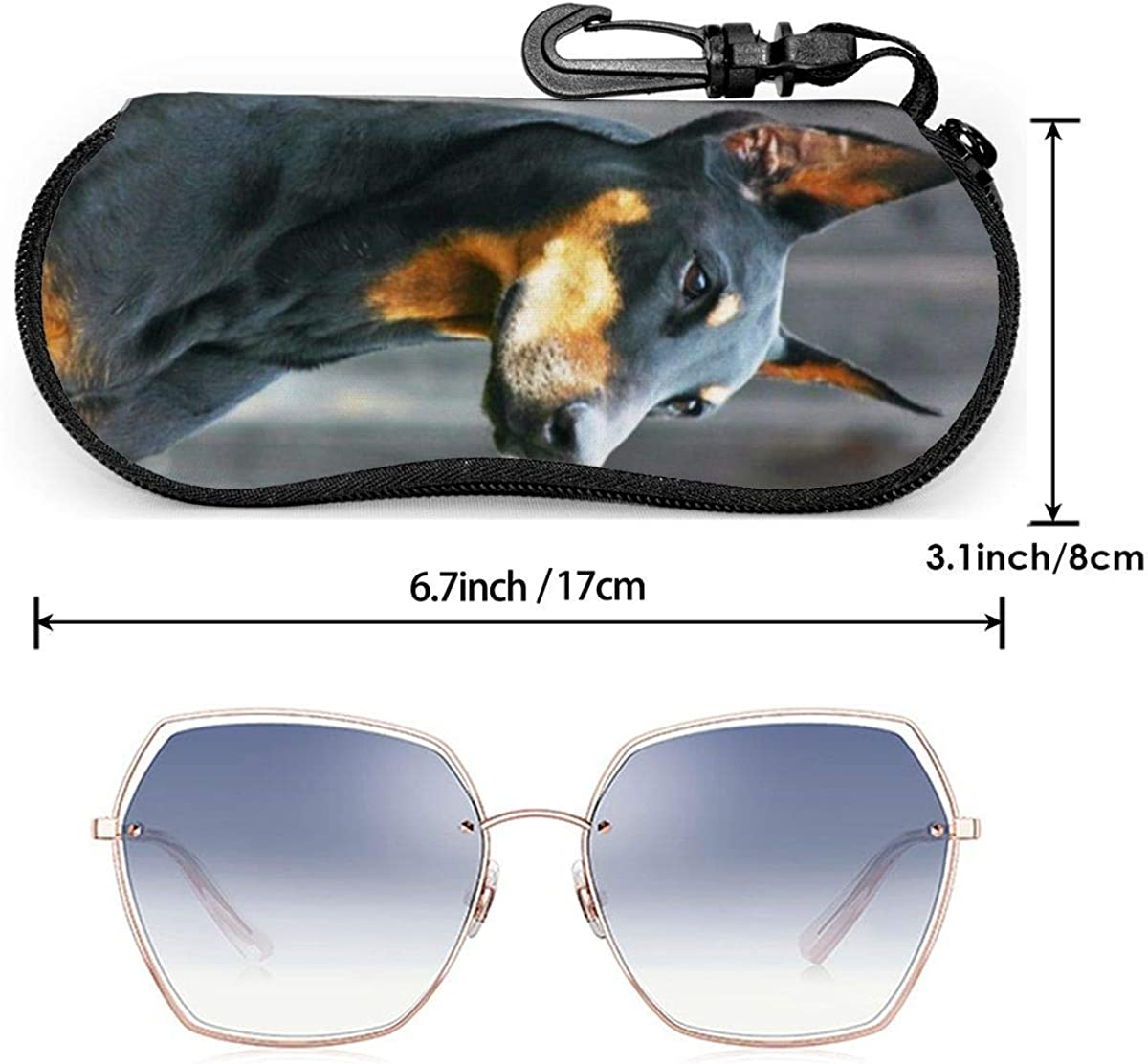 IUBBKI Doberman Eyeglass Case For Women And Men,Portable Sunglasses Soft Case With Carabiner