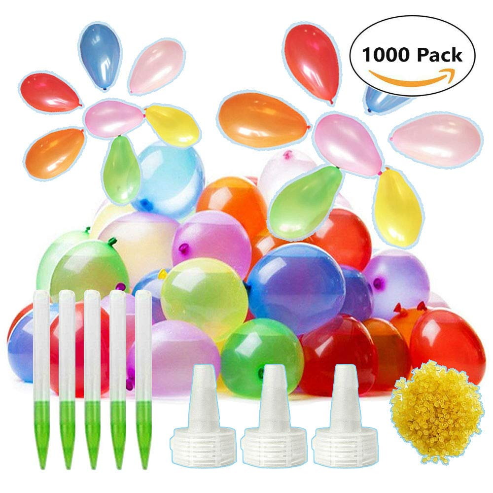 Herdro 1000 Pack Water Balloons with Refill Kits, Colorful Latex Water Bomb Balloons for Water Fight Games, Summer Splash Fun for Kids and Adults
