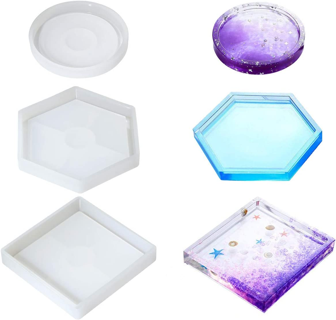 SSEE Square Round Ashtray Coaster Flexible Silicone Tray Mold Epoxy Resin Craft Clay Resin Molds Plaster Mold 1