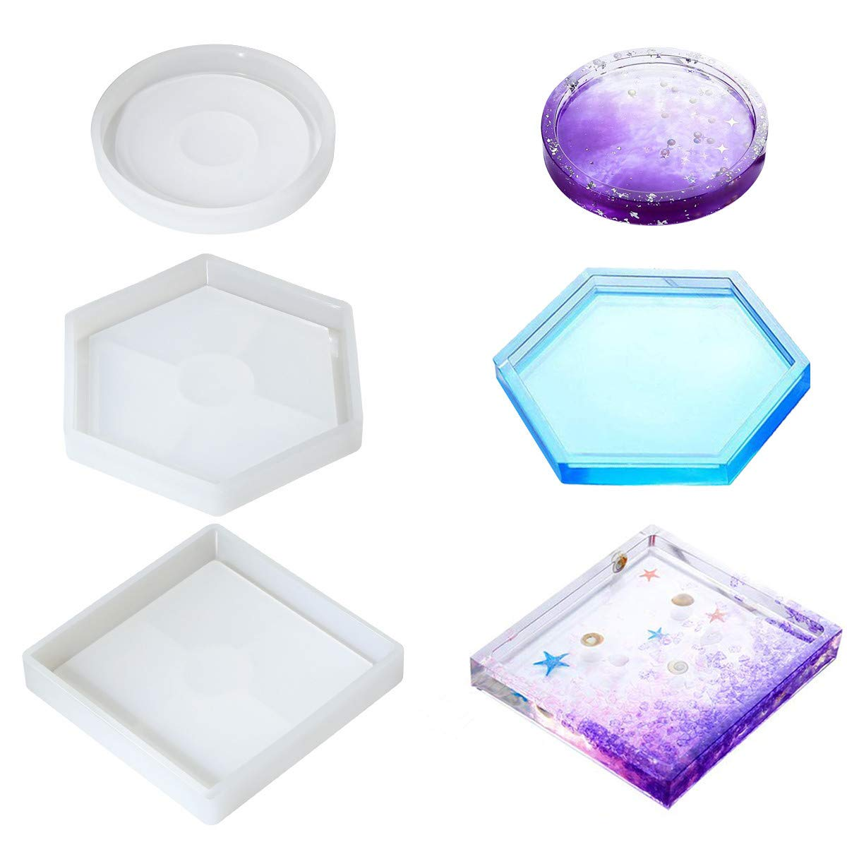 3 Pack DIY Coaster Silicone Molds for Resin, Epoxy Resin Molds Ashtray for Casting Eco-Friendly Sturdy Hexagon Square Round Mold Bottom Bracket for Casting with Resin,Concrete,Cement