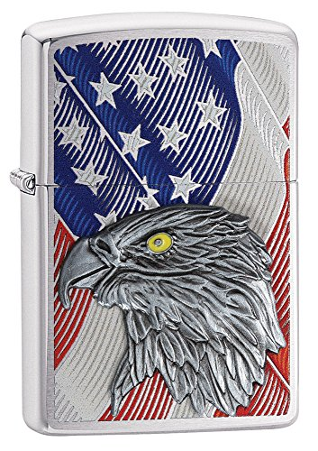 Zippo USA Flag with Eagle Brush Finish Chrome Pocket Lighter