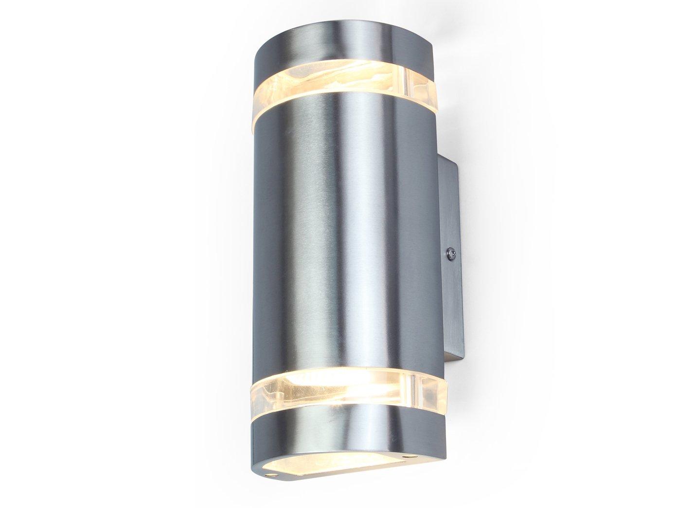 Edelstahl Außenwandleuchte FOCUS mit LED Leuchtmittel, Fassadenbeleuchtung, Up- & Downlight
