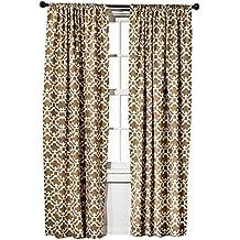 """Threshold Farrah Fretwork Brown & Cream Curtain Panel (2, 95""""X54"""")"""