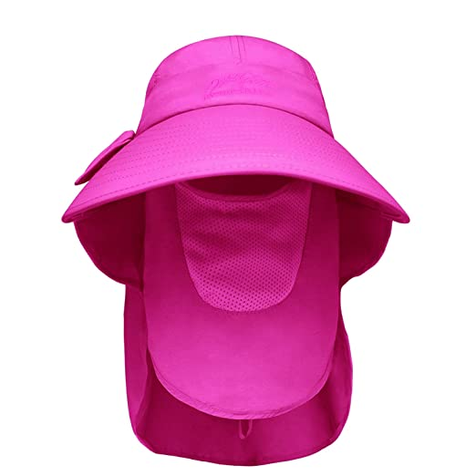 Sun Blocker Women Sun Flap Hat with Adjustable Drawstring Hiking Cap Wide  Brim 0ee4deb61758