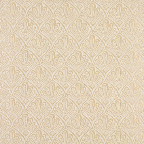 Ivory Upholstery (A121 Beige And Ivory Two Toned Fan Upholstery Fabric By The Yard)