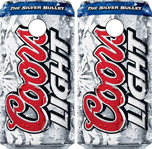 (C268 Coors Light Cornhole WRAP Wraps Laminated Board Boards Decal Set Decals Vinyl Sticker Stickers Bean Bag Game Vinyl Graphic Tint Image)