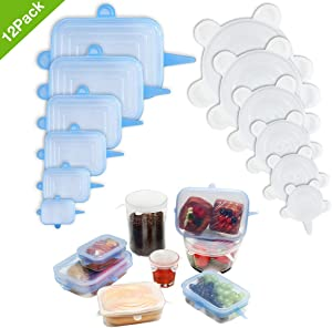 [12pack] Silicone Stretch Lids 6Pcs Clear Round 6Pcs Blue Rectangle, Reusable Durable Food Covers for Bowls, Cups, Cans, Fit Different Sizes & Shapes of Container, Dishwasher & Freezer Safe