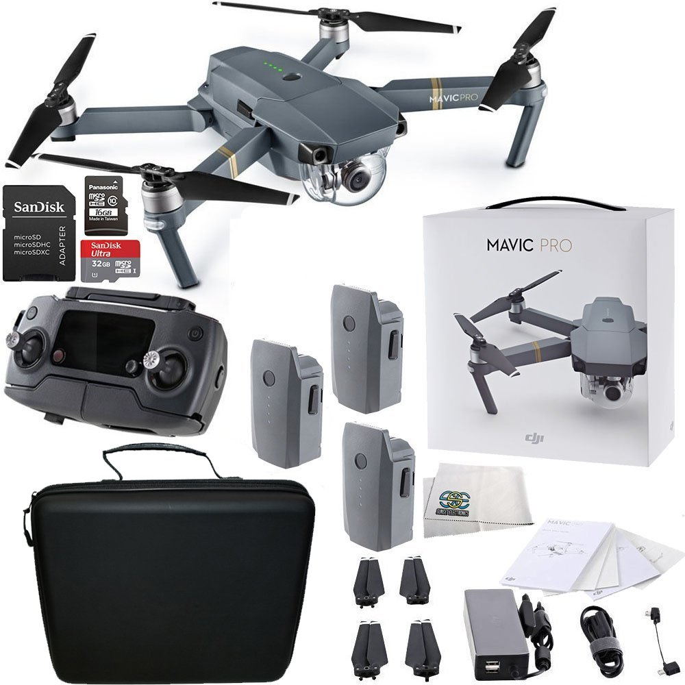 DJI Mavic Pro Collapsible Quadcopter Drone Ultimate Travel Bundle Includes Manufacturers Accessories PLUS 2 Intelligent Flight Batteries + More by DJI