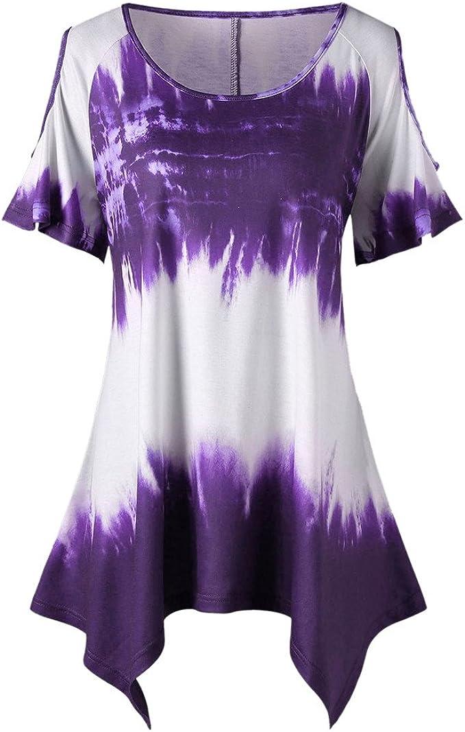 SHJIRsei Camisola Mujer,Camiseta de Talla Grande Casual Manga Corta Suelto Verano Blusa O-Cuello Moda Imprimir Camiseta con Hombros Descubiertos Camiseta Corta Mujer Top