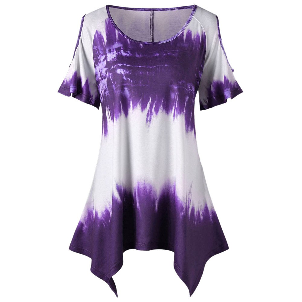 TWGONE Irregular Hem Tops For Women Short Sleeve Plus Size Tunic Scoop Neck Open Shoulder T-shirt (X-Large,Purple)