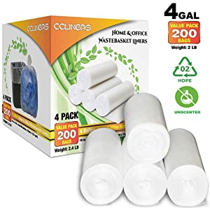 4 Gallon Small Trash Bags Bathroom Garbage Bags Clear Plastic Wastebasket Trash Can Liners for Home and Office Bins, 200 Count