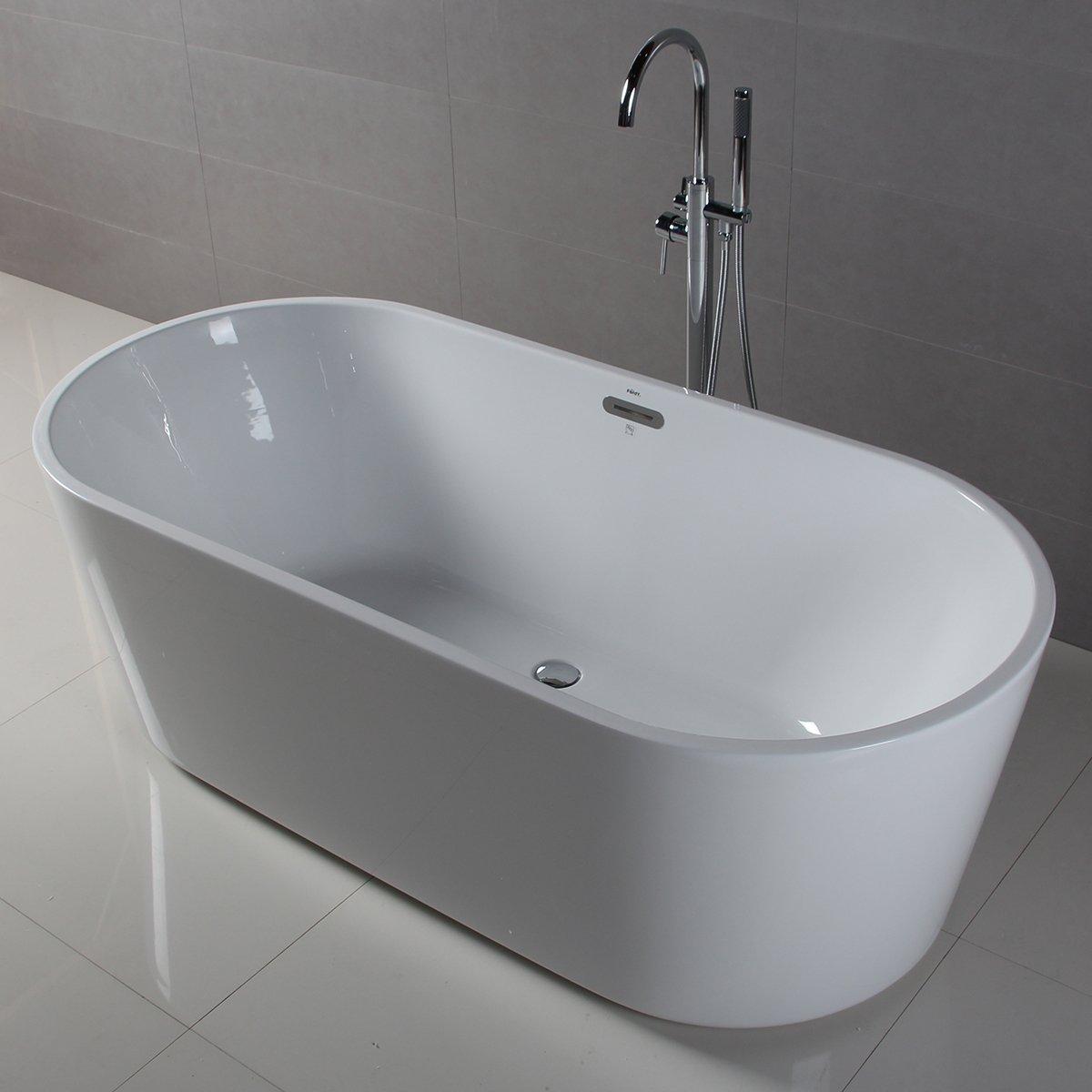 FerdY Freestanding Bathtub, Soaking Bath Tub, Stand Alone Tub for Bathroom, Contemporary Style, High Glossy, Acrylic, White (67'')