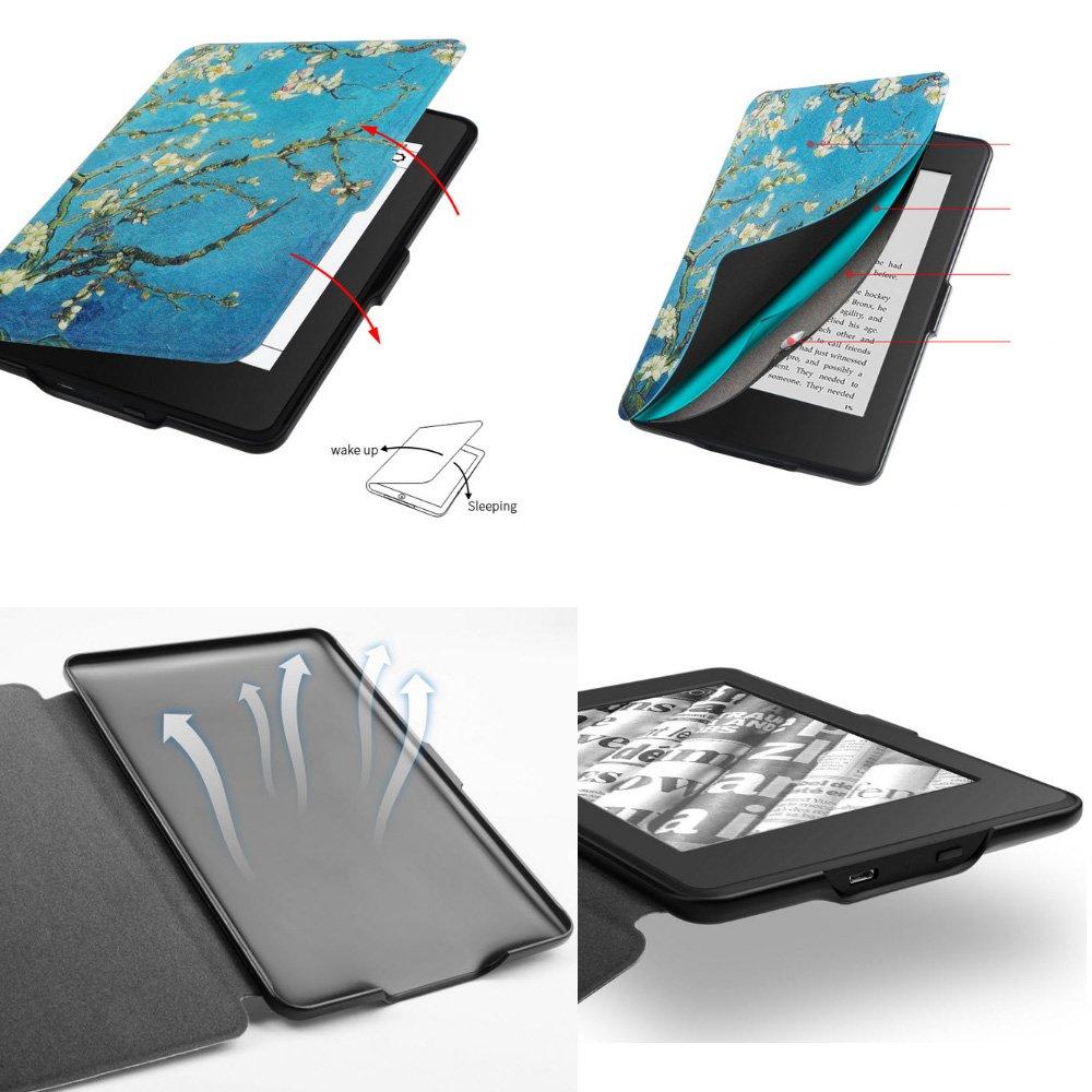 Kindle Paperwhite 1/2/3 Protective Case - with Vertical Flip Auto Sleep/Wake (Van Gogh Almond Blossom Design) by Creanoso