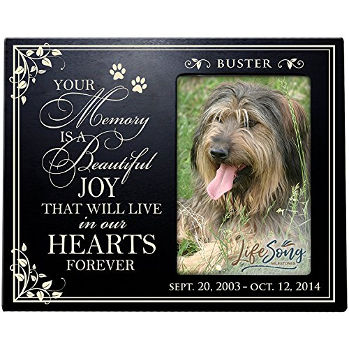 LifeSong Milestones Personalized Pet Memorial Gift, Sympathy Picture Frame, Your Memory is A Beautiful Joy That Will Live in Our Hearts Forever Holds 4x6 Photo Black