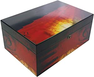 Humidor Supreme Music Piano Cigar Humidor, Musical Notes, Spanish Cedar Tray, 3 Dividers, Holds up to 100 Cigars, by Quality Importers