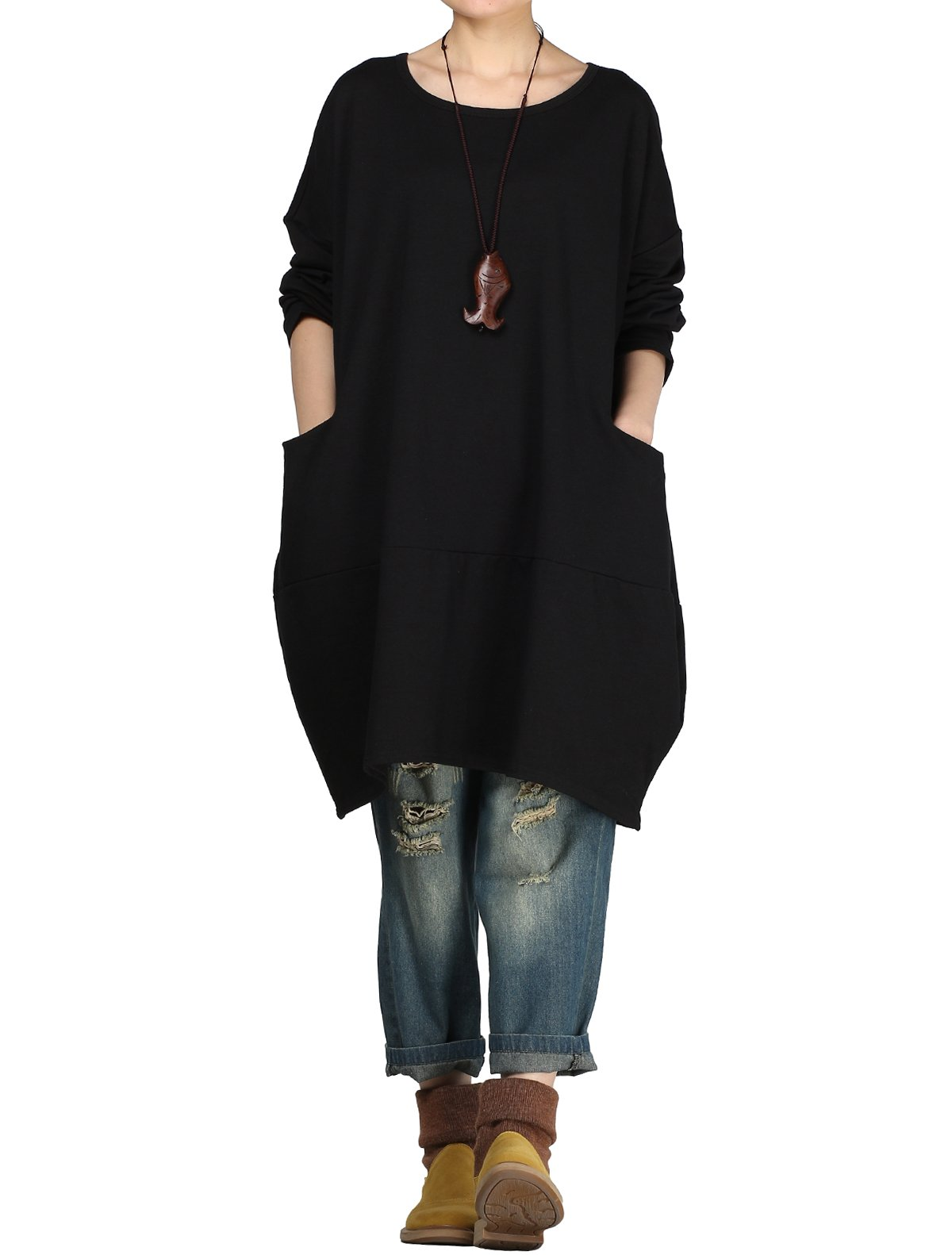 Mordenmiss Women's Stylish Sweatshirt Dress Knitted Jumpers Blouse Pullover w/Pockets L Black