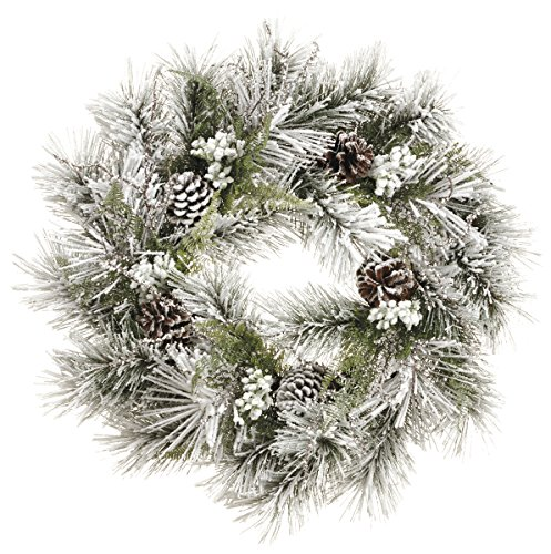24 Inch Christmas Snow Pine Wreath With Pine Cones