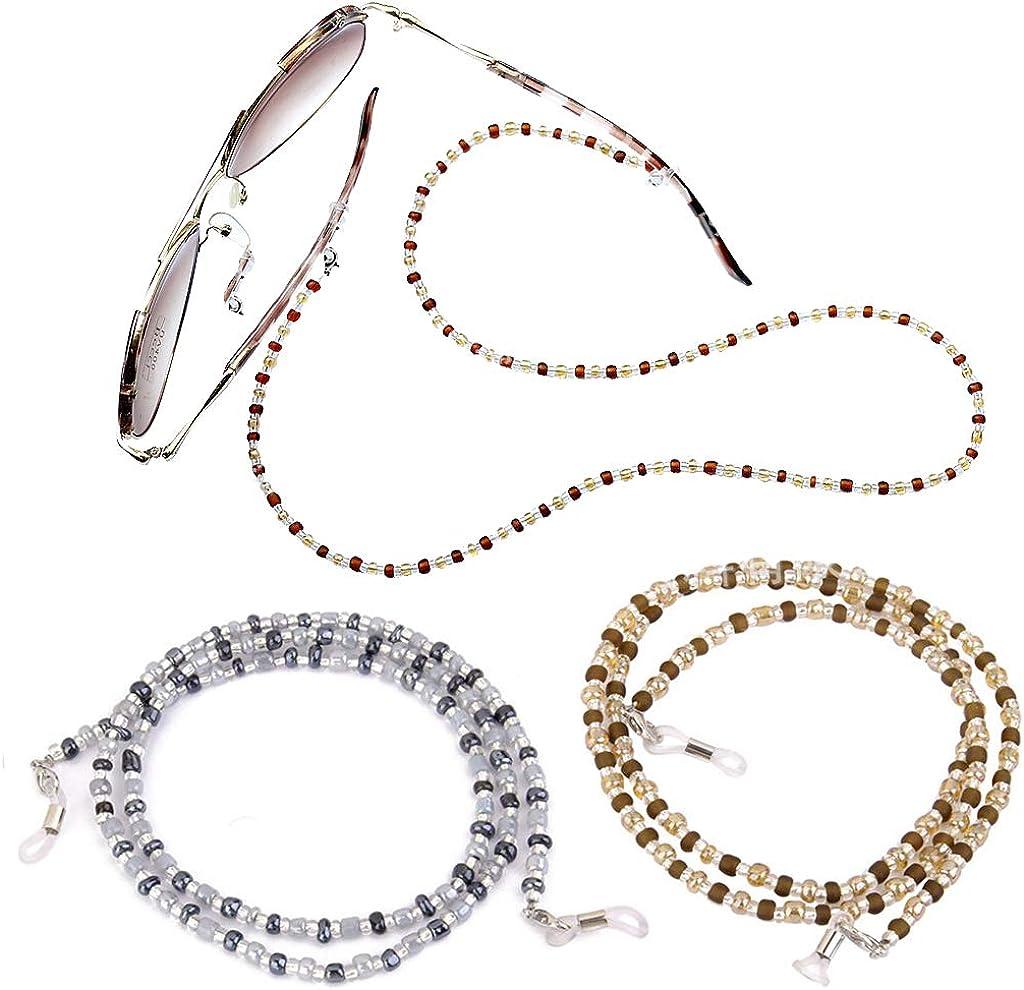 Gresunny 3pcs cordon lunettes femme cha/înes de lunettes cordon de lunettes en perles multicolores anti-perte sangle de retenue de lunettes de soleil cha/îne lunettes d/écorative pour femmes filles