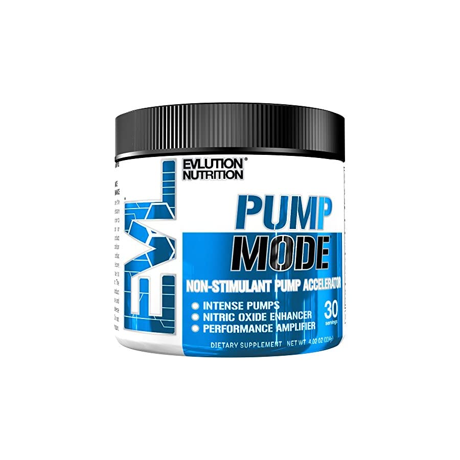 Evlution Nutrition Pump Mode Nitric Oxide Booster to Support Intense Pumps, Performance and Vascularity, 30 Serving, Unflavored