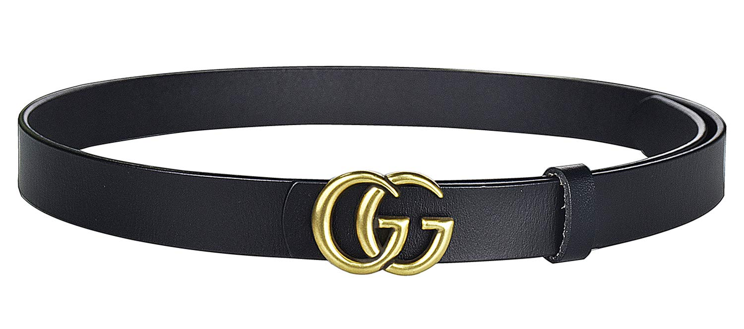 G-Style Gold Buckle Women Leather Belt Vintage Thin Belts(Brown-1.3) us-GG01-02-Brown-3.3cm