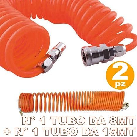 TrAdE shop Traesio 2 Tubos Tubo Aire comprimido Flexible para compresor 8 15 Metros Injertos rapidii