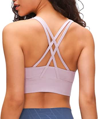 Sports Bras for Women Strappy Back Padded Workout Yoga Bra Medium Support with Removable Cups